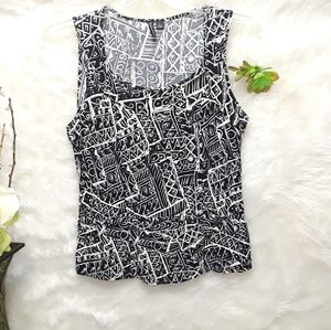 Essentials by Milano Black & White Blouse